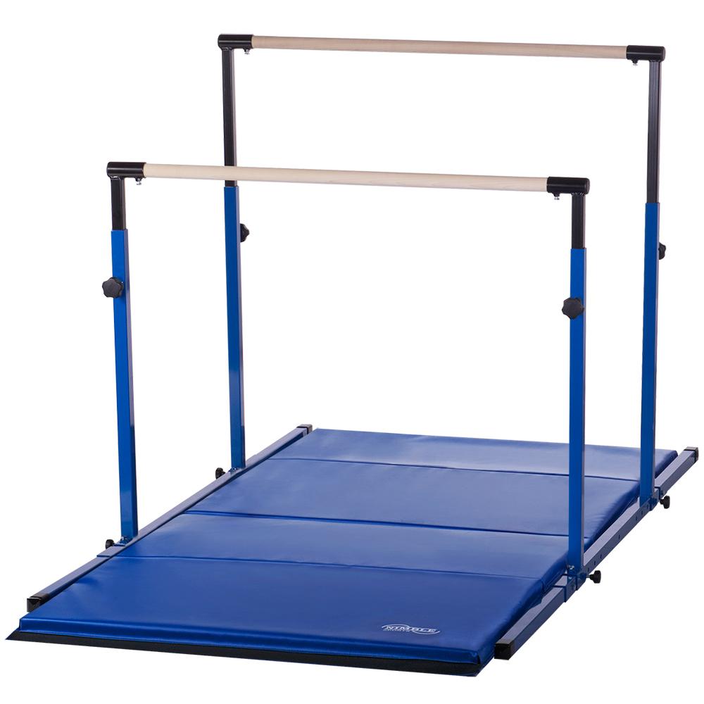 0d94b2688d03 Details about Kids Adjustable Uneven Parallel Bars Gymnastics Mat Combo for  Home